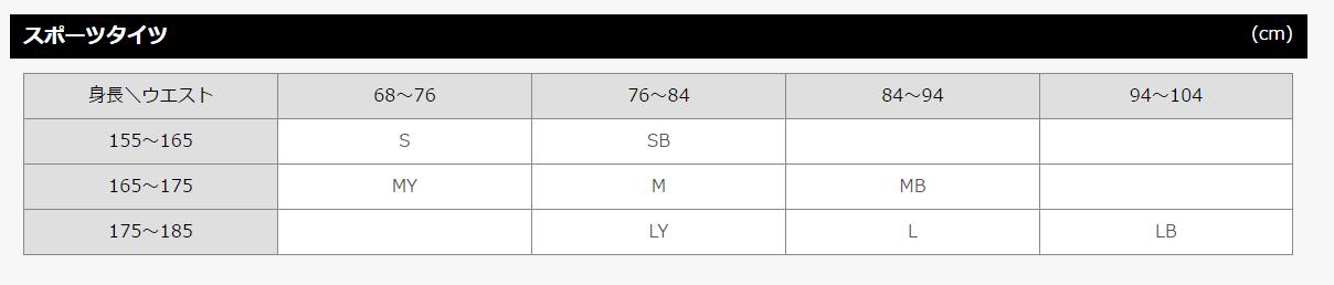 CW-X/スポーツタイツ男性用サイズ表
