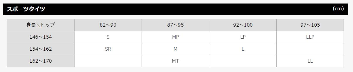 CW-X/スポーツタイツ女性用サイズ表